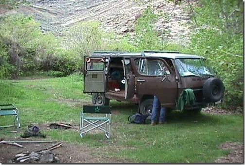 Pic of old van at camp site